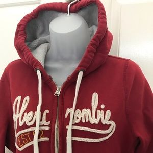 Women's ABERCROMBIE & FITCH Red Zip Up Hoodie L